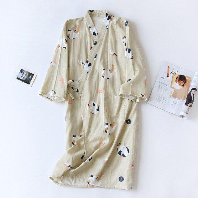Áo Ngủ Đôi Nhật Bản Bằng Vải Cotton Nguyên Chất Cho Nam Và Nữ Áo Kimono Mỏng Mùa Hè Cho Mèo Áo Choàng Tắm Nhật Bản Mùa Xuân Và Mùa Thu Áo Ngủ