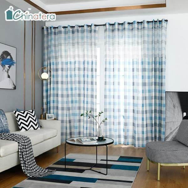 Rèm Cửa Sổ Vải Tuyn Hình Học Hiện Đại, 1 Tấm Rèm Sợi Trải Mờ Phong Cách Bắc Âu, Vải Tuyn Cho Phòng Khách, Phòng Ngủ