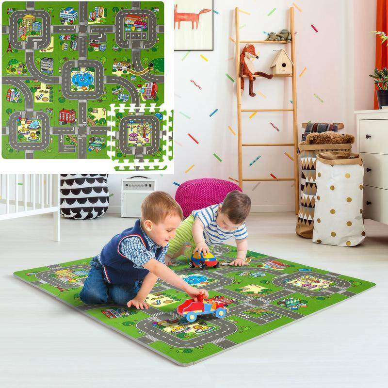 Leegoal Traffic Play Mat Puzzle Foam Interlocking Tiles – Kids Road Traffic Play Rug - Children Educational Rug Baby Play Set Mat - Great For Playing With Toy Cars Trucks By Leegoal.