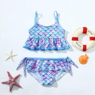RIO MALL Đồ Bơi Nàng Tiên Cá Hai Mảnh Nơ Cho Bé Gái Trẻ Tập Đi Bộ Đồ Tắm Đồ Bơi, Trẻ Em Áo Tắm Cho Bé Gái Phim Hoạt Hình Đồ Bơi Trang Phục Cho Bé Gái Bộ Bikini Trẻ Em Ánh Sáng Màu Xanh thumbnail