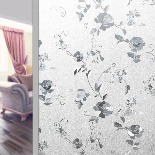 Peony Flower Pattern Frosted Glass Window Shading Film Tint