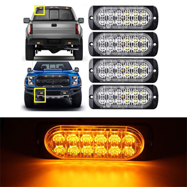 Mã 4X12 LED Hổ Phách Xe Tải Xe Cấp Cứu Đèn Hiệu Cảnh Báo Nguy Hiểm Flash Ánh Sáng Nhấp Nháy Thanh