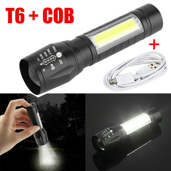 Portable T6 COB LED Tactical USB Rechargeable Zoomable Flashlight Lamp