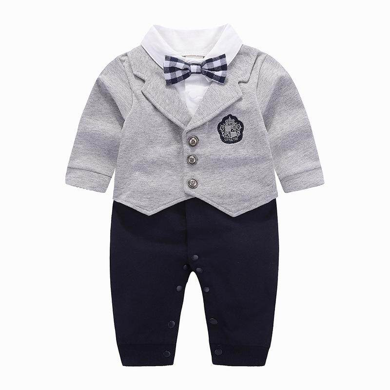 76bd2a4c390ff Fashion Newborn Baby Boys Gentleman Rompers Summer Long-sleeved Toddler  Infant Clothes Baby Jumpsuits Body Suit