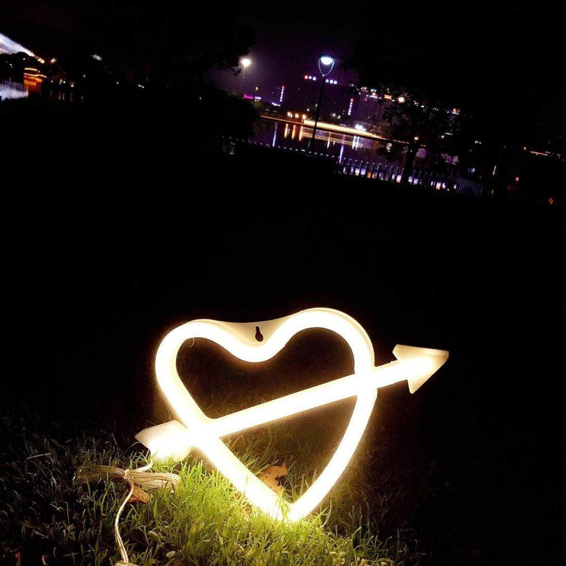 Love Heart Shape LED Night Light Wall Decoration Hanging Neon Light Home Decor