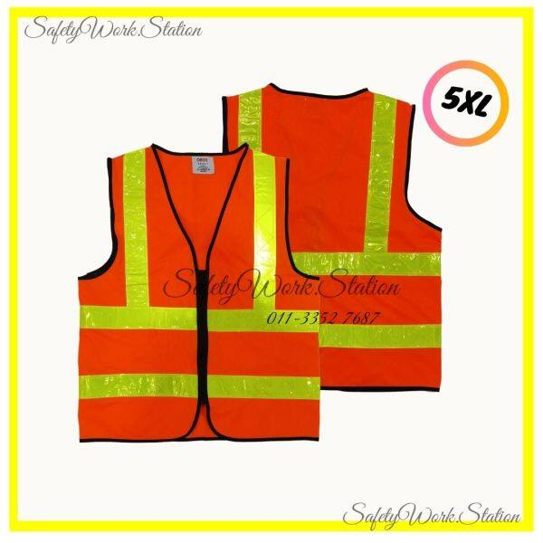 (LOCAL STOCK) SAFETY VEST ORANGE WITH 4 YELLOW REFLECTIVE