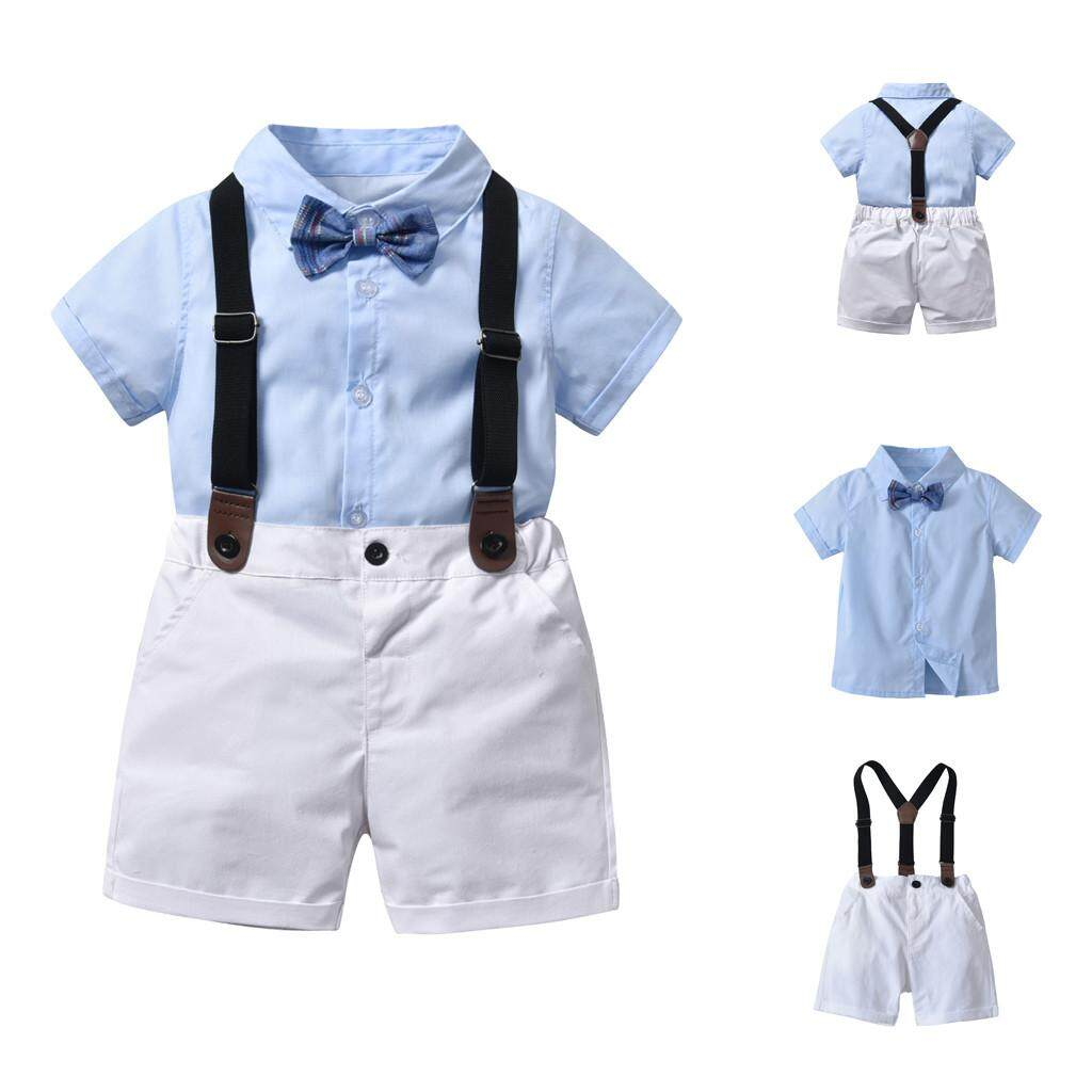 Tideshop เด็กหัดเดินฤดูร้อนสุภาพบุรุษ Bowtie แขนสั้นเสื้อ + กางเกงขาสั้นโดยรวมชุด