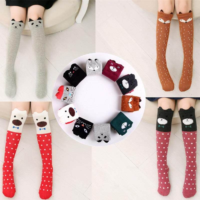 9896627a549 Hot New 9 Styles Children Baby Girls Cute Character Knee Socks Fox Cotton  Dancing Socks Leg