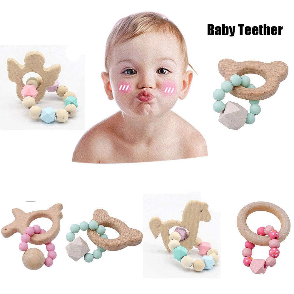Animal Rattles Baby Teething Ring Teether Bracelets Wooden Teething toys