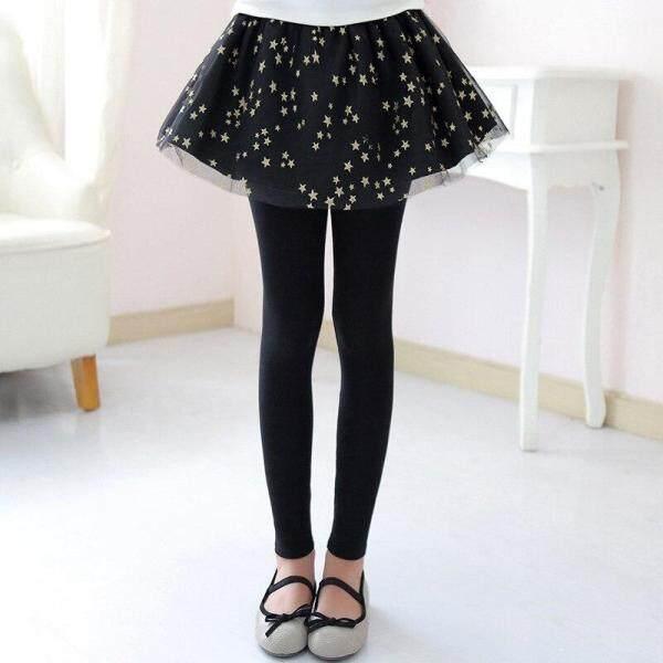 Giá bán Váy Legging Nữ Đính Sequin Stars-Quần Tutu Lưới Sao Vàng Cô Gái Lớn Quần Legging Co Giãn Trẻ Em Culotte Cho Trẻ Em 3-12 Tuổi