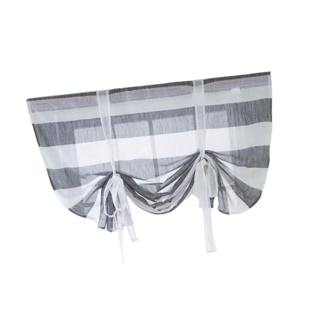 BolehDeals Adorable Romantic Roman Curtain - Tie-up Ribbon Window Curtain Balloon Drape Voile Sheer Valance Cafe Kitchen Balcony 46x63 Inch