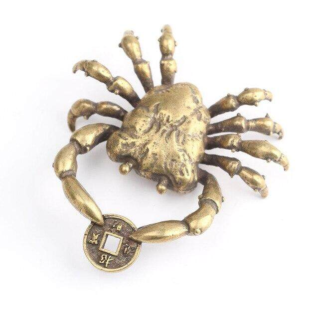 Chinese Pure brass crab small pendant