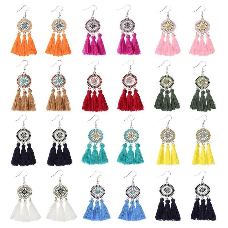 2a38125e78af CANDY 12 Pairs of Bohemian Sun Flower Women Fashion Tassel Pendant Earrings
