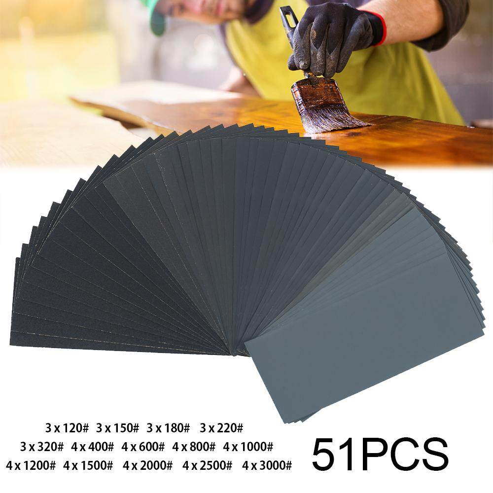 51pc Mixed Wet and Dry Waterproof Sandpaper 120-3000 Grit Wood Sheets