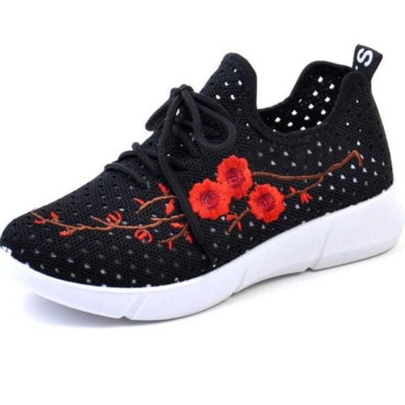 Giày Nữ Đế Bệt Thoáng Khí, Giày Đế Mềm Thêu Lưới Đi Chơi Mùa Xuân Và Mùa Hè giá rẻ