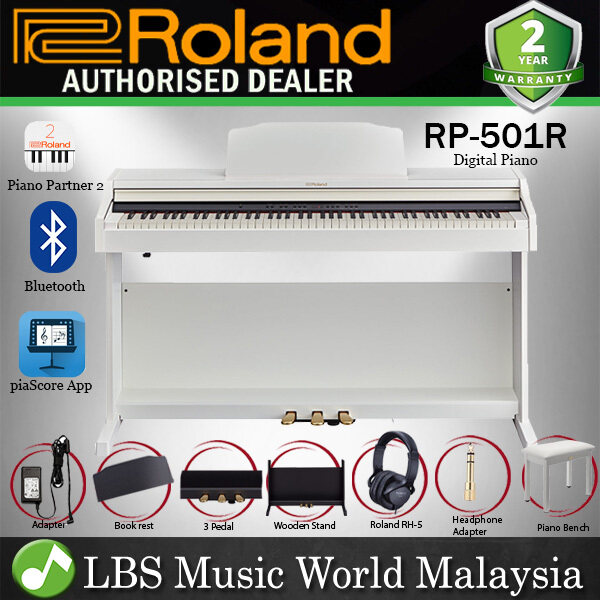 Roland RP-501R 88 Key Digital Piano Bluetooth Capability with RH-5 Headphone White (RP501R RP501) Malaysia
