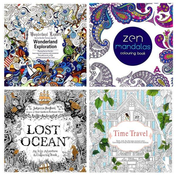 12Pages Coloring Book Adult Relax Decompression Painting Art Books Time Travel Mandalas Flower Kill Time Graffiti Supplies