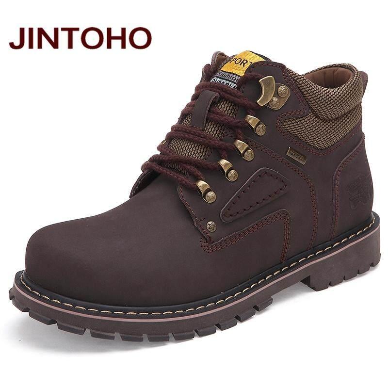 JINTOHO Big Size Men Ankle Boots Chất Lượng Cao Genuine Leather Men Làm Việc & An Toàn Khởi Động Mùa Đông Giày Cao Su Cho Người Đàn Ông Giày Làm Việc