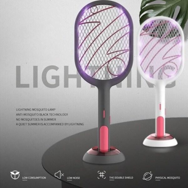 Ready Stock Malaysia !!! Home Electric Fly Mosquito Swatter Bug Zapper Racket Insects Killer Mosquito Killer Cordless Battery Power Mosquito Trap Racket Pembunuh Serangga Nyamuk Elektrik