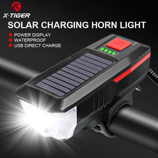 Bộ Đèn Xe Đạp X-TIGER Và Còi Năng Lượng Mặt Trời USB Có Thể Sạc Lại 4 Chế Độ Đèn Pha Xe Đạp