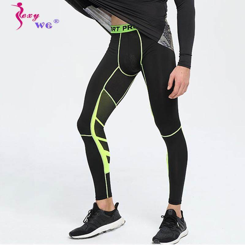 93f7d73667326 NINGMI Running Tight Pants for Men Sport Compression Trousers Quick Dry  Elastic Pant Gym Male Casual