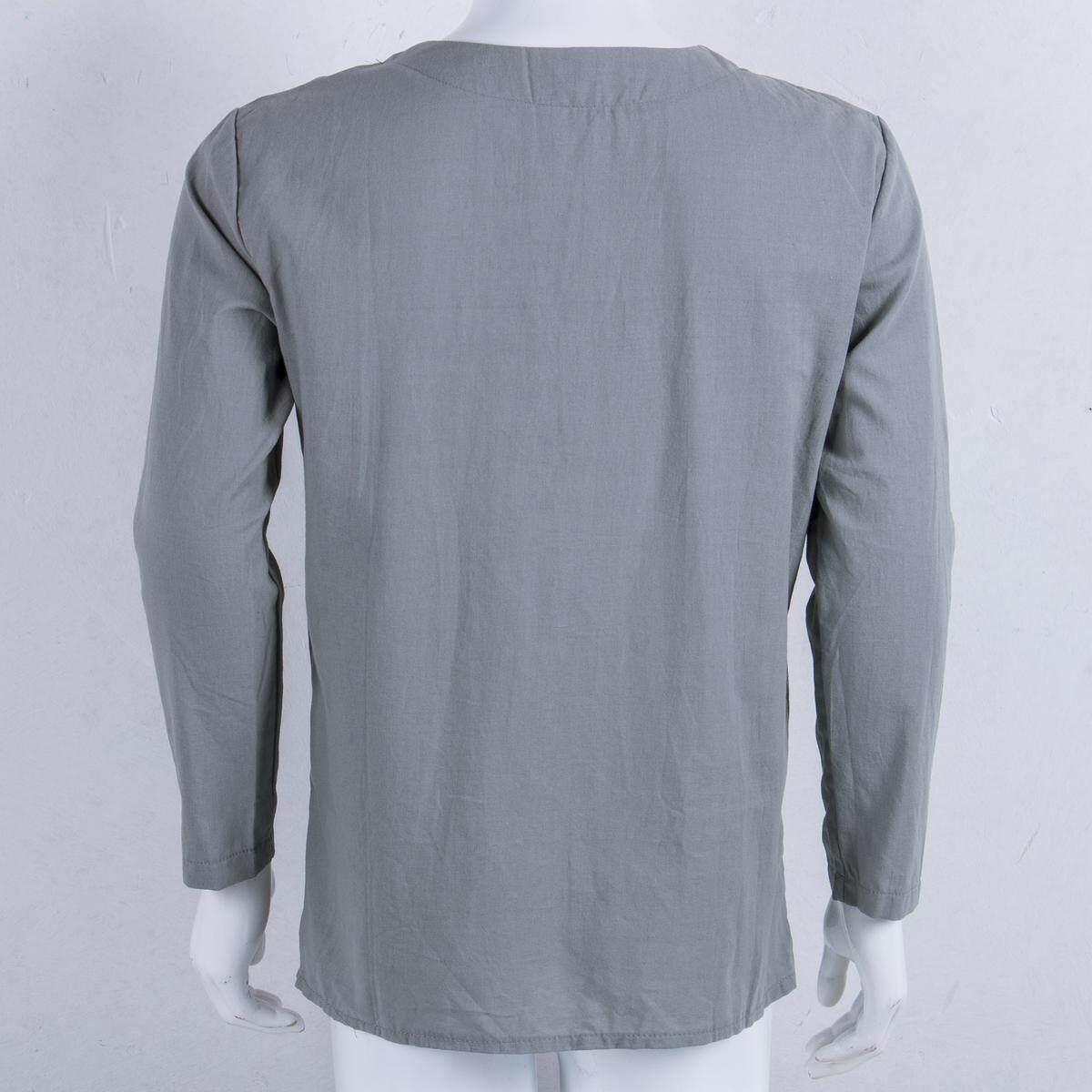 Mens T Shirt Beach Loose Blouse Cotton Linen Casual V Neck Holiday Tops Summer