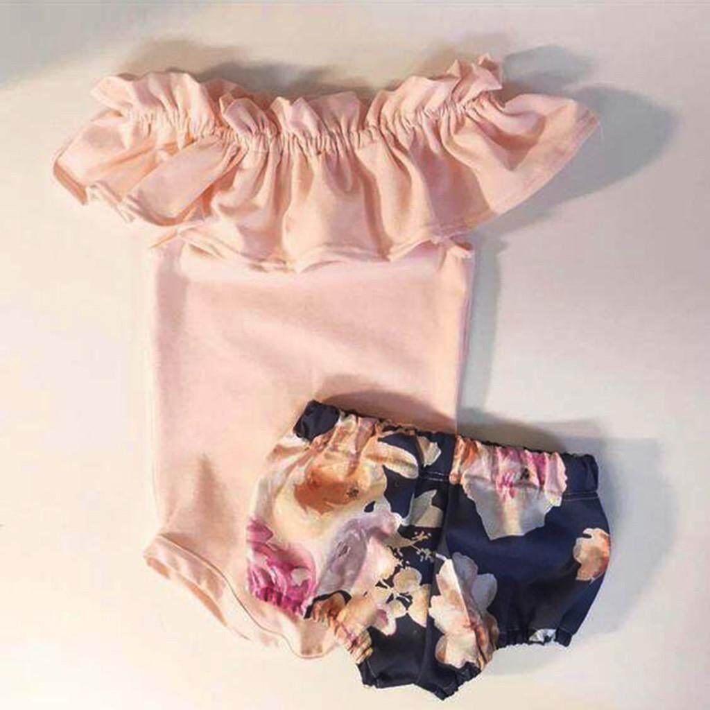 dd1680ce447b 2019 M K Ralphshop Newborn Infant Kid Baby Girl Ruffles Romper Jumpsuit+ Floral Shorts Pants Outfits
