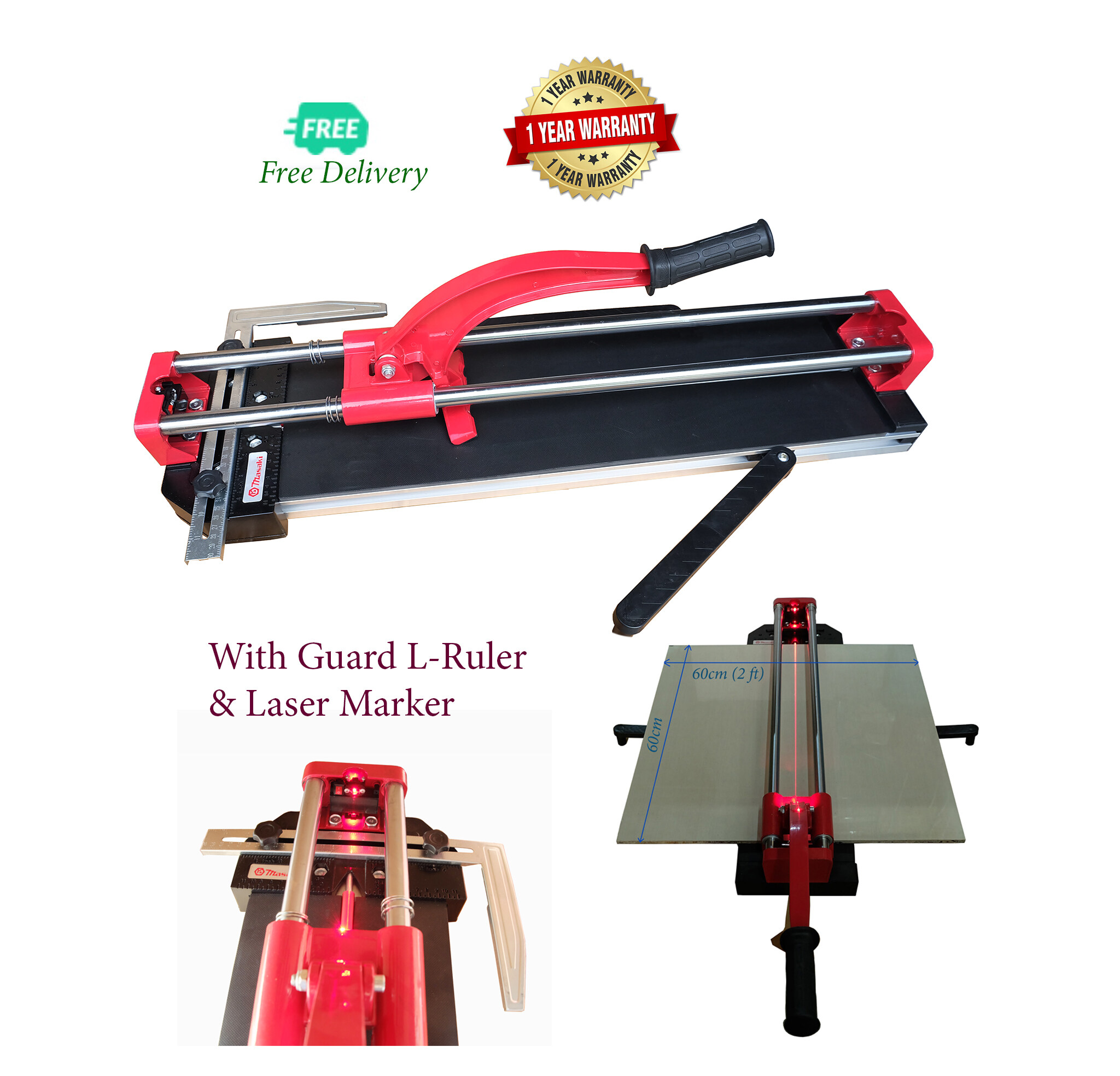 Masaki Advance Tile Cutter Mozaic, Ceramic Cutter 600mm size with Infra Red and Ruler Guider