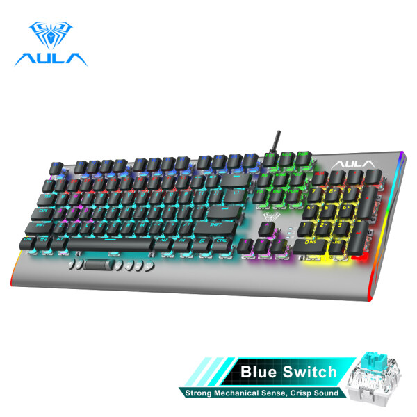 YFD AULA F2099 Wired Mechanical Gaming Keyboard Crystal Switch Multimedia Button, Full Keys Anti-ghosting Marco Programming Metal Panel Wired LED Backlit Keyboard for PC Gamer Singapore