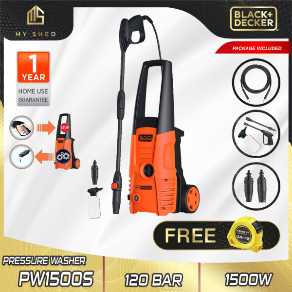 BLACK & DECKER PW1500S-XD 1500W 120 Bar High Pressure Cleaner With Standard Accessories  (PW1500S, PW1500)