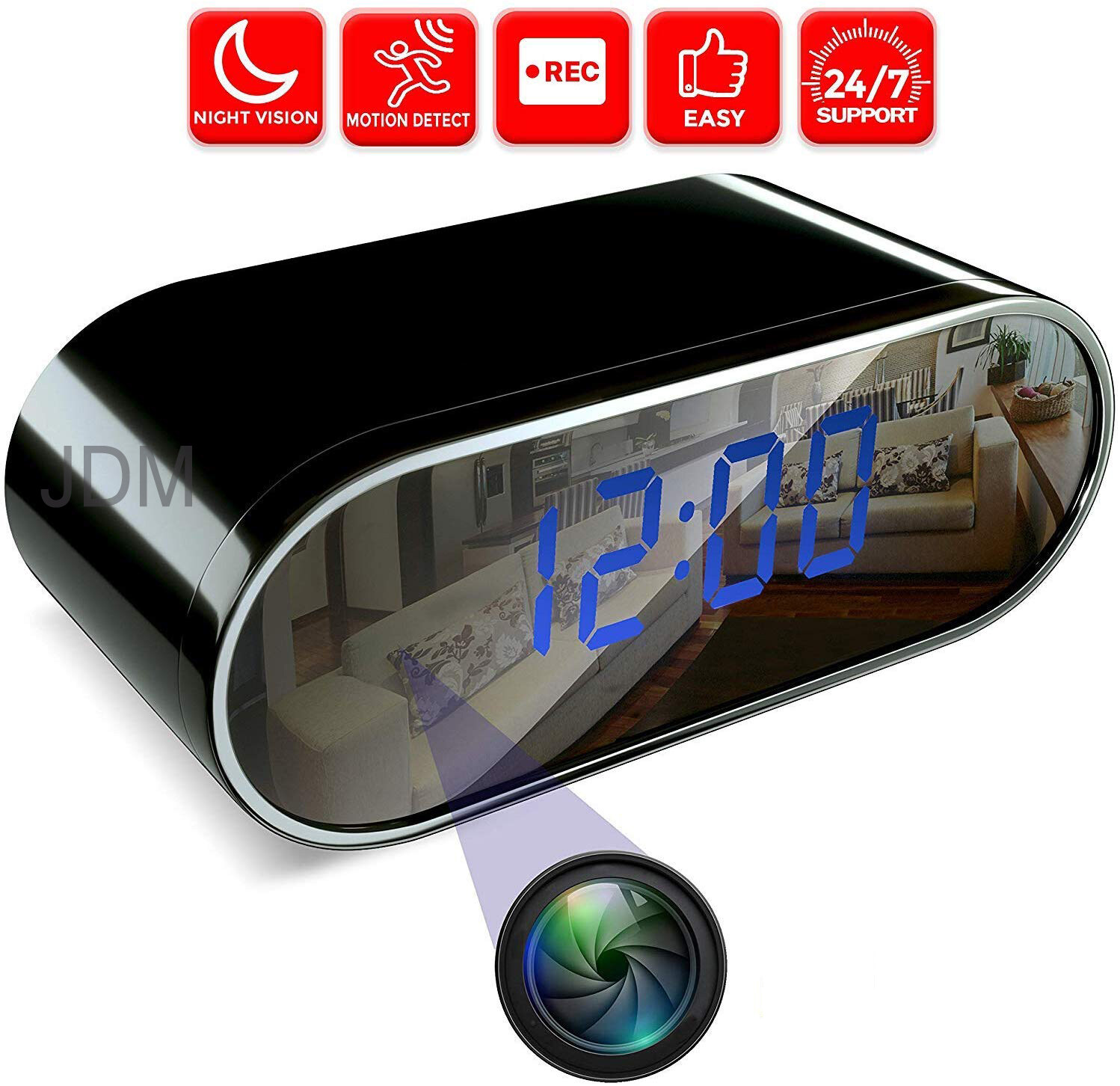 HD Camera Clock Motion Detection Video Recorder Home Surveillance Cam US