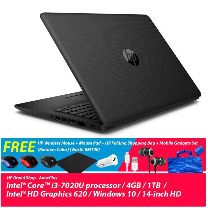 HP 14-bs726TU/ 14-BS727TU/ 14-BS728TU Notebook /i3-7020U/4GB DDR4/1TB/Win10 +Free HP Wireless Mouse + Mouse Pad + HP Folding Shopping Bag + Mobile Gadgets Set (Random Color) (Worth RM100) Malaysia