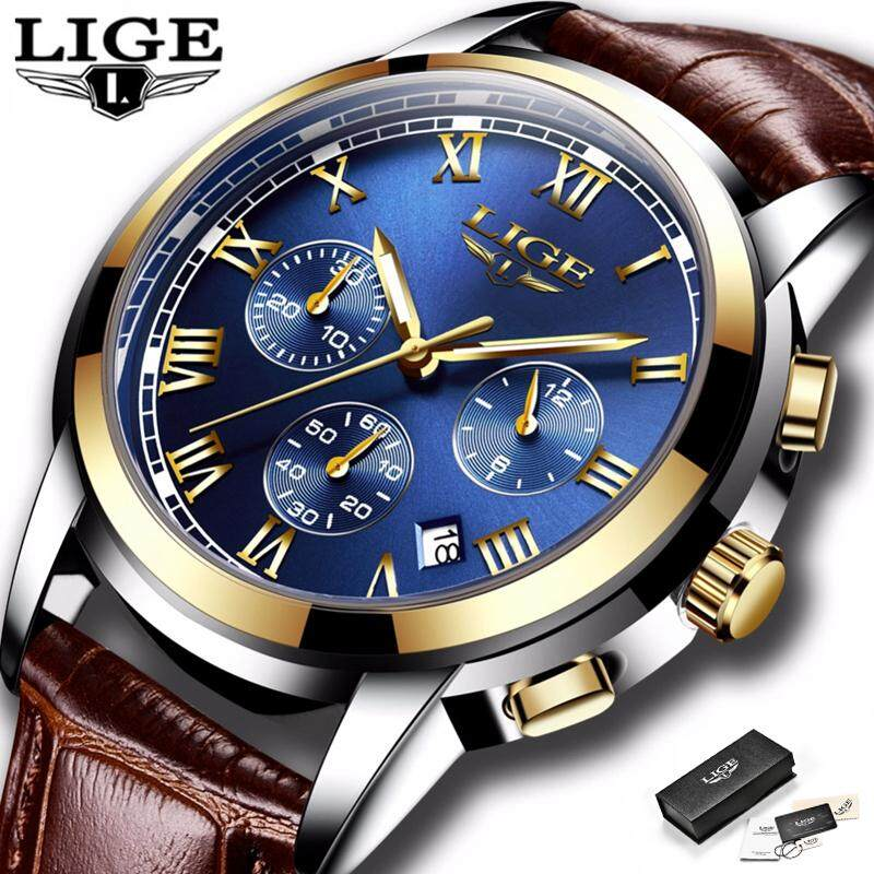 LIGE Watches Men Fashion Waterproof Analog Quartz Wristwatch Chronograph Auto Date Luminous Leather Jam Tangan Lelaki Malaysia