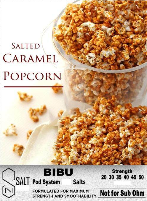 BIBU 30ml NIC SALT E JUICE LIQUID VAPE FLAVOUR Ejuice Eliquid - Salted  Caramel Popcorn