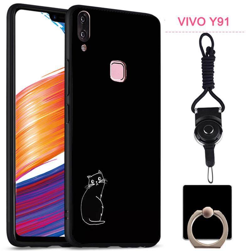 Rp 55.000. Penuh Pelindung Silica Gel Casing Lembut Ponsel Sarung Telepon Matte untuk VIVO Y91 dengan Tali dan RingIDR55000