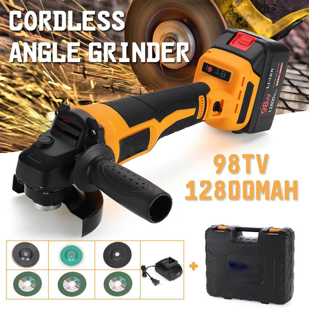 【Free Shipping + Flash Deal 】18V 12800mAh Cordless Electric Angle Grinder Rechargeable Li-ion Battery 100mm