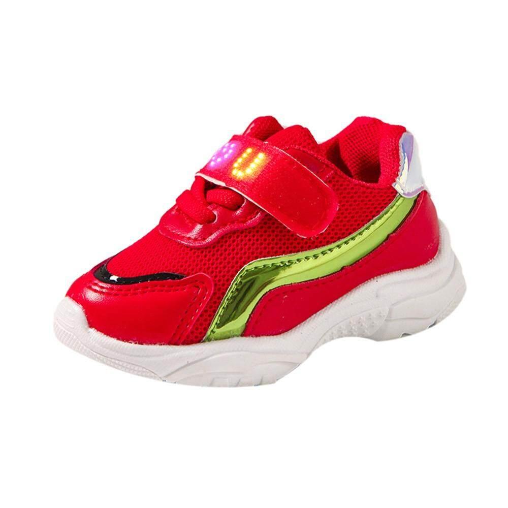 Tideshop Children Babygirls Boys Letter Meshled Light Luminous Running Sport Shoes By Tideshop.