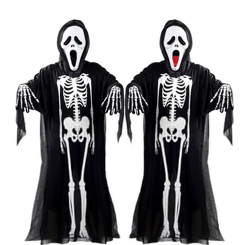 Full Set 100-180CM Height Halloween Skeleton Ghost Cosplay Costumes Adult Children Horror Costumes Skeleton Clothes+Devil Mask+Skeleton Gloves(Optional)