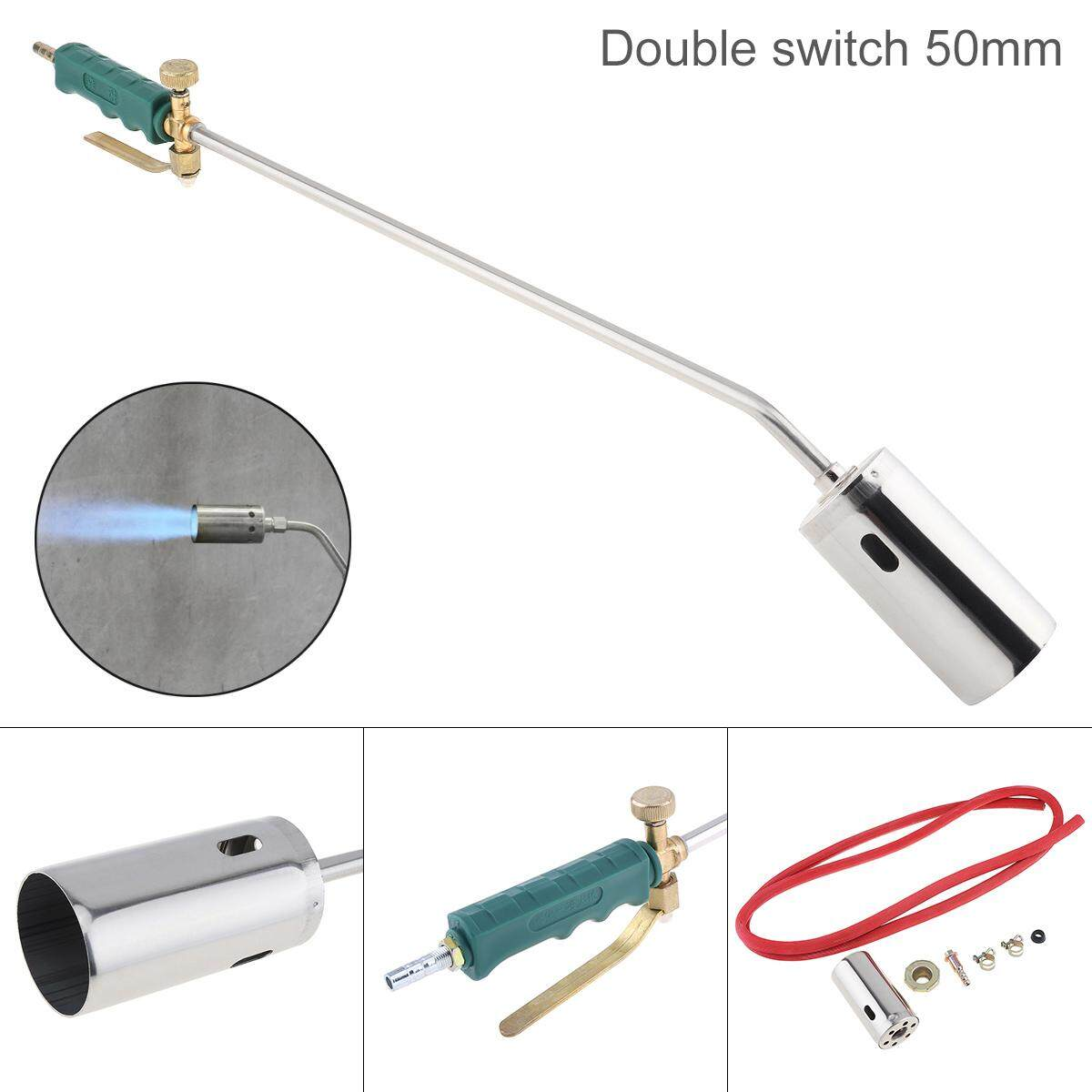 50 mm Double Switch Type Liquefied Gas Torch Welding Spitfire-Gun Support Oxygen Acetylene Propane for Barbecue / Hair Removal