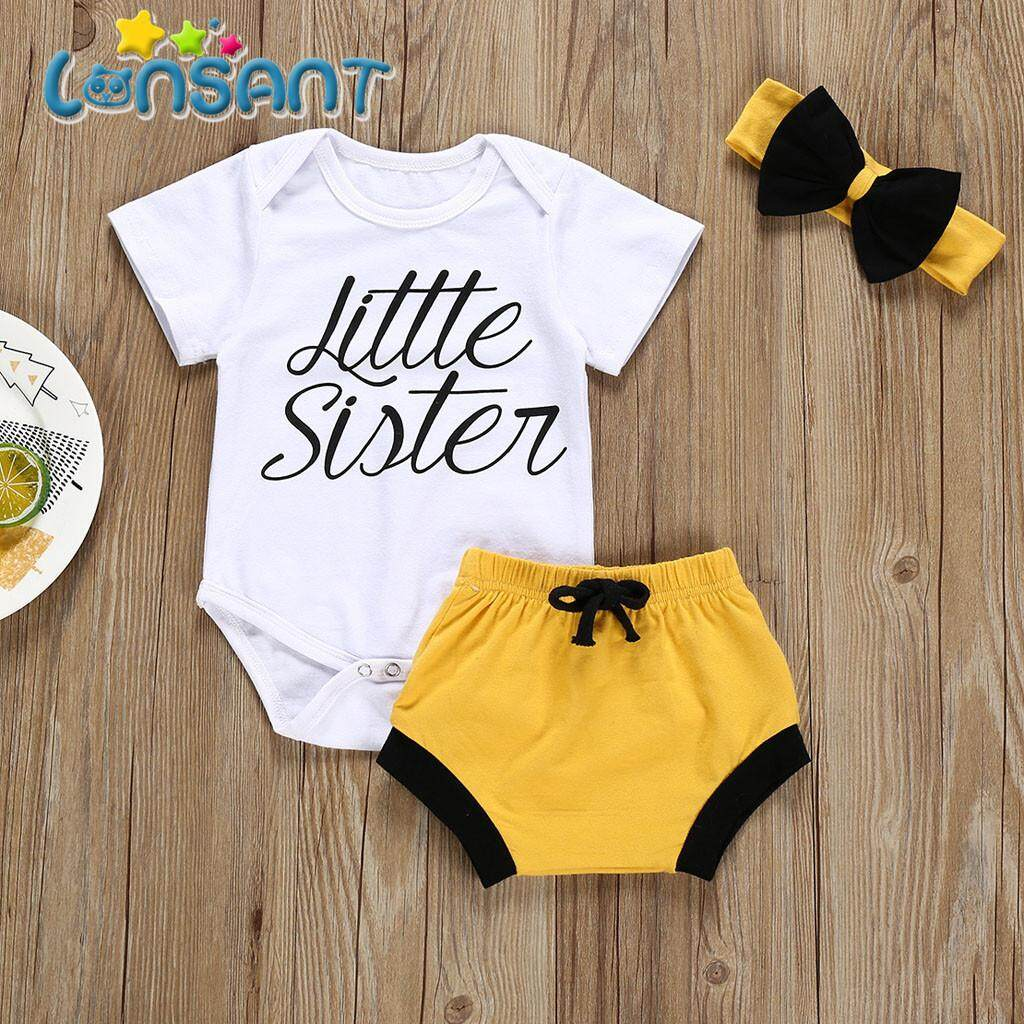 7853bc36d00fc LONSANT Infant Newborn Baby Boy Kid Letter Solid Rompers+Shorts+Hairband  Outfits Clothes