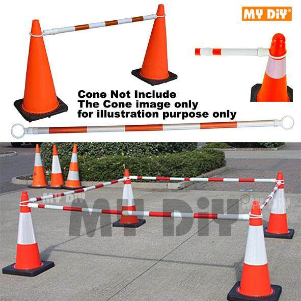 DIYHARDWARESTATION - Retractable 2 Meter Traffic Cone Bar Reflective Signal Warning Safety Parking Lot – White Orange - Cone Not Include