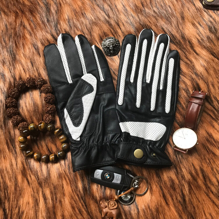 Harley Retro Motorcycle Gloves Touch Screen Sheepskin Motorcycle Riding Leather Knight Wear