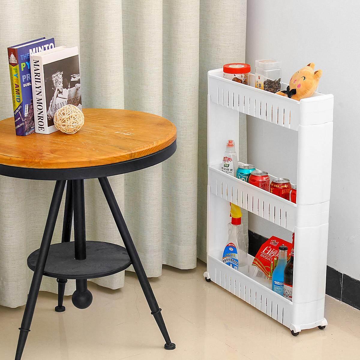 Slim Slide Out 3 Tier Storage Trolley Kitchen Bathroom Laundry w/Wheel Rolling