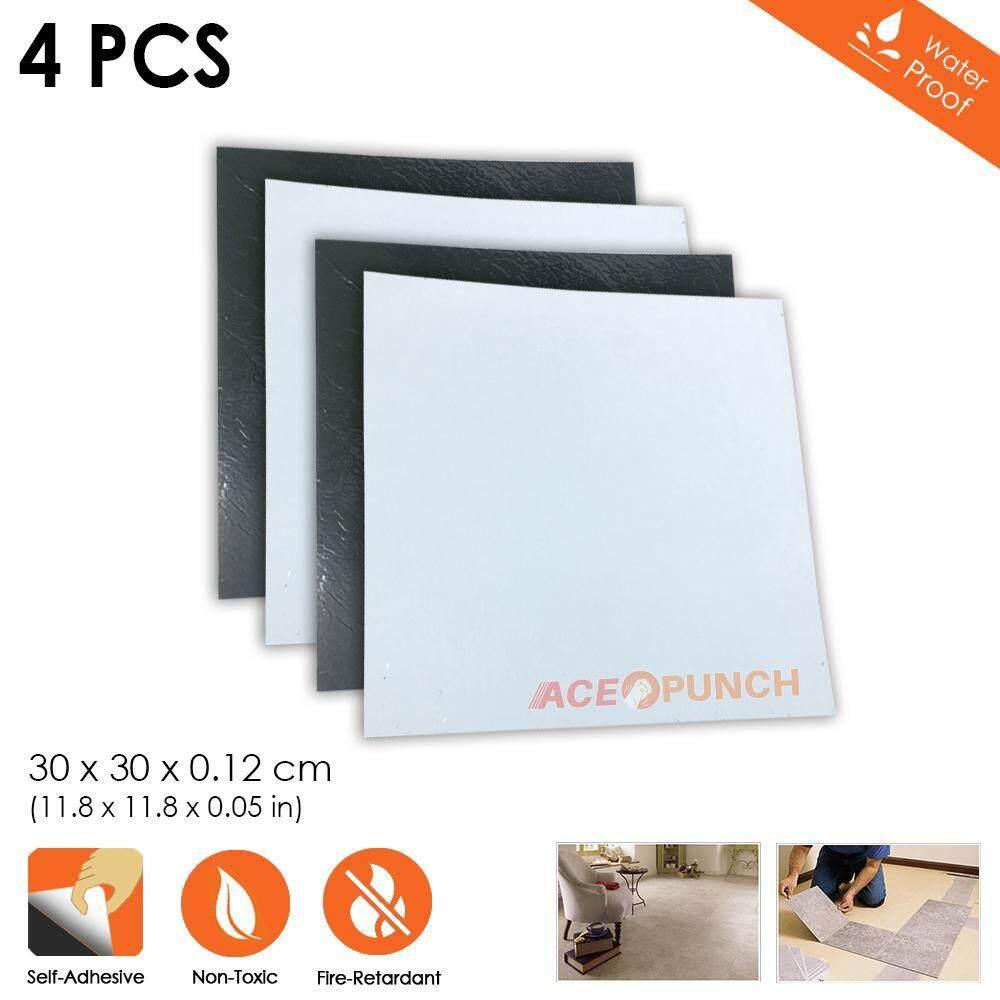 Acepunch 4 pieces PVC Floor Tiles Vinyl Flooring Adhesive Plank Stone Wood Marble Ceramic Carpet 30 x 30 x 0.1 cm - Letter L Checkered Design AP1175