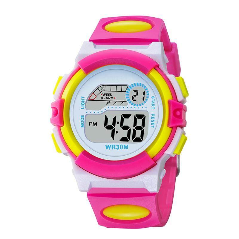 Kids Children Boy Girl Sports LED Digital Watch Rainbow Back Light - Pink Malaysia