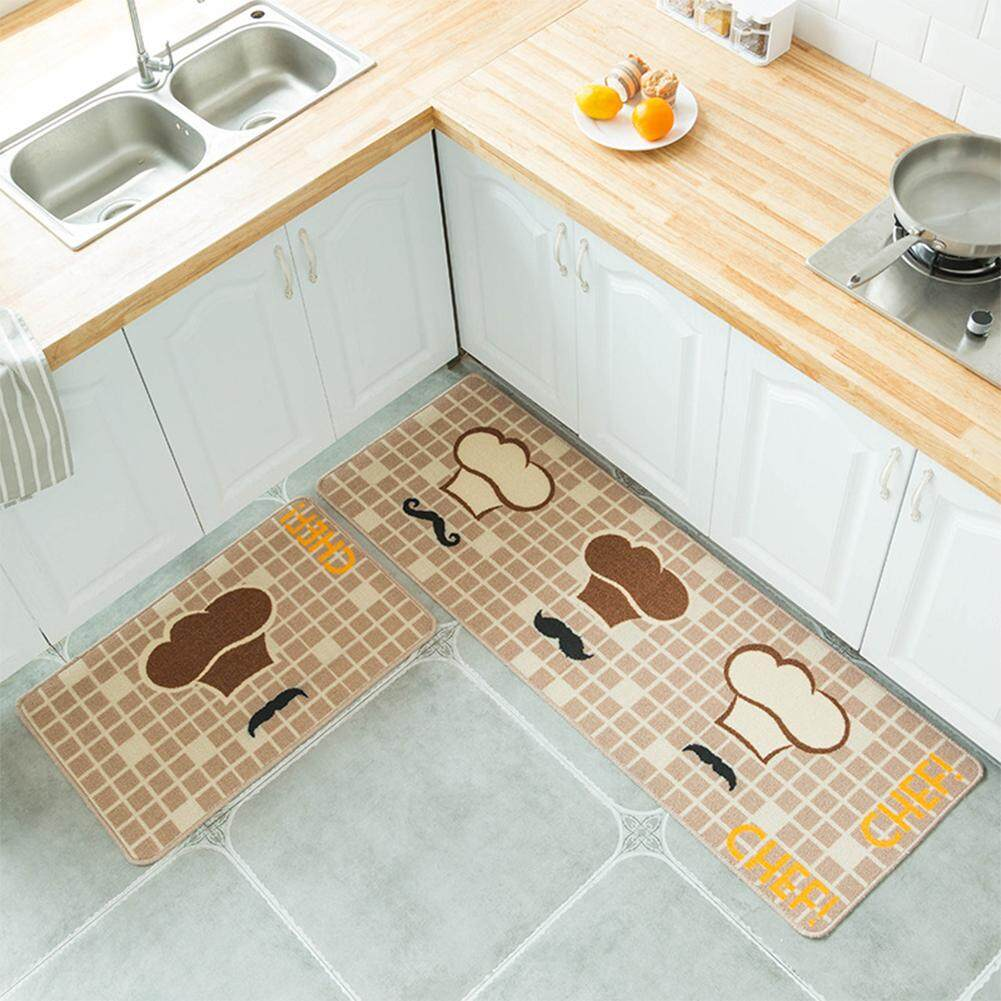 MG 2PCS/Set Simple Cartoon Printed Non Slip Floor Mat Carpet for Kitchen Door