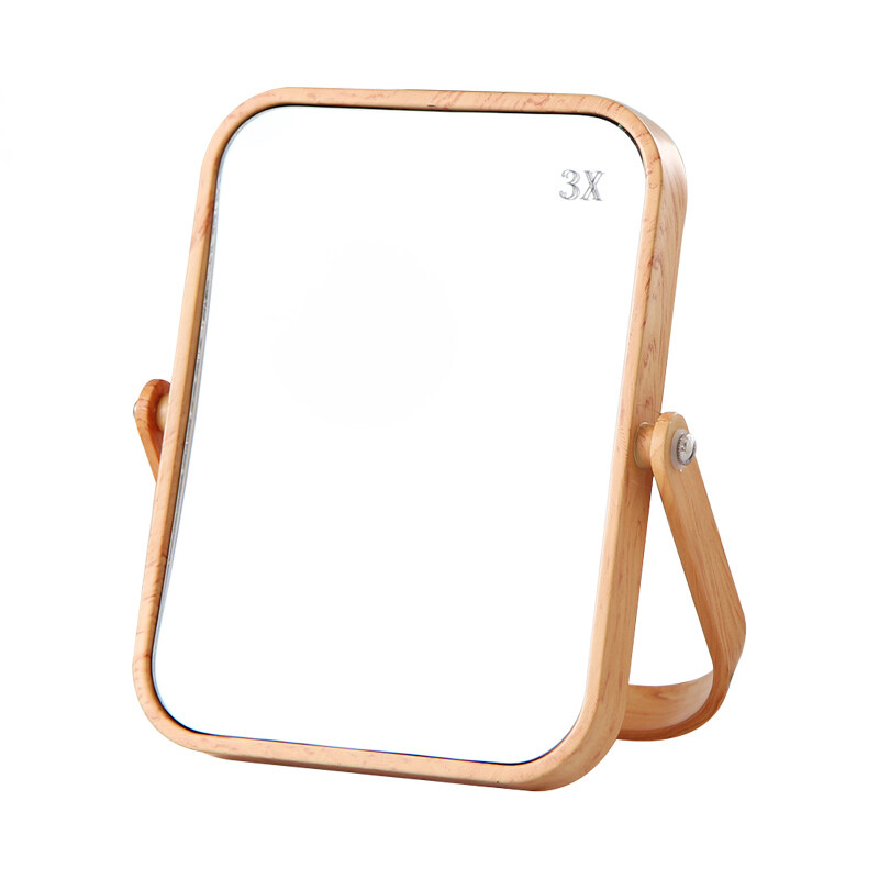 3x Desktop Oblong Plastic Makeup Mirror Two-sided Wood Grain Color Decorative Bathroom