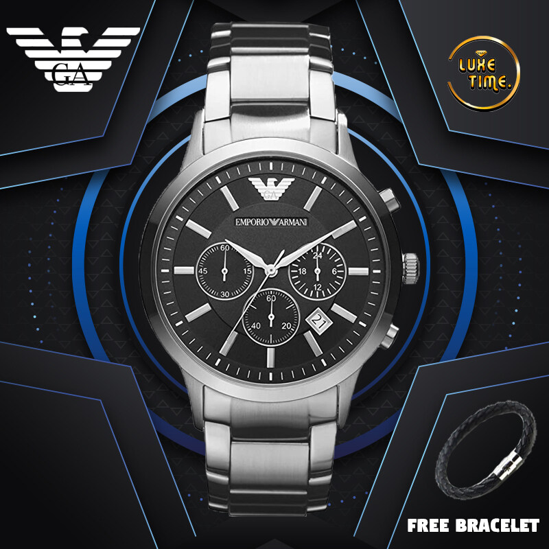 [GENUINE] Emporio Armani Classic Chronograph Black Dial Steel Men Watch (AR2434) {2 years Warranty} Malaysia