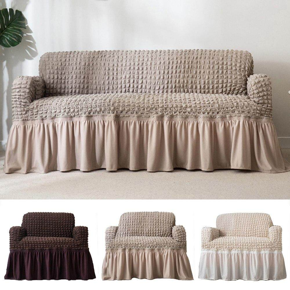 Full Sofa Cover With Elastic Skirt 3 Sizes Solid Europe Polyester Single Double Three Seat For Living Room Bedroom Couch Covers By Skysea.