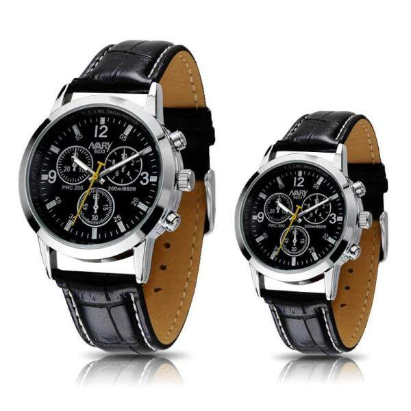 NARY Couple Watch Fashion Casual Leather Strap Waterproof Watches Malaysia